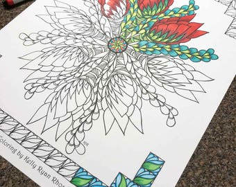 Coloring page from an Original drawing, Mandala
