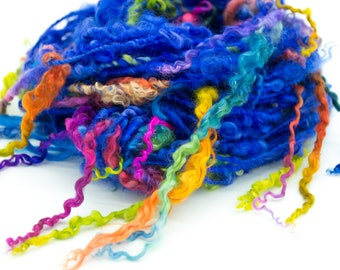 Extreme Tailspun Yarn/ Rainbow Tailspun Yarn/ Handspun Art Yarn/ Handspun Yarn/ Wool Locks/ Wensleydale Locks