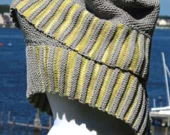 Boardwalk, a crescent shaped shawl knitting PDF pattern