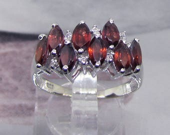 Ring modern 925 sterling silver topped 8 garnets size 52