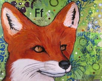 Original Mixed Media Fox on Wood Canvas OOAK Ceville Designs