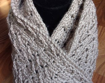 women's extra long crocheted taupe scarf women's accessories soft warm crocheted scarf extra long warm scarf