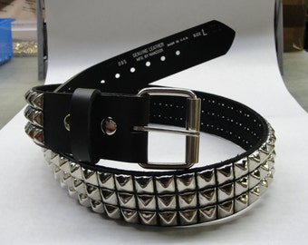 "1-3/4"" (45mm) wide Genuine Leather Belt with 3 rows 1/2"" (13 mm) PY-77 Pyramid Square Studs Silver/Chrome Studded Spiked Made in U.S.A. NYC"