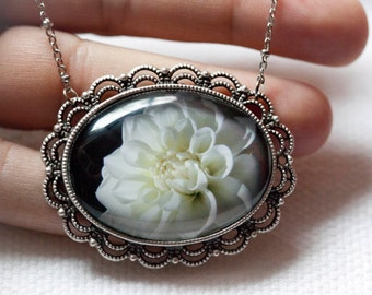 Dahlia Necklace wearable art pendant . Photo jewelry on an 18 in silver chain necklace