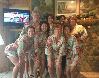 Bridesmaids robe, Set of 12, Floral Bridesmaid Robes, Bridesmaids Light Green Floral Robes, Getting Ready Robe, Bride to be, Bridal Shower
