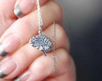 Brain Necklace - Solid 925 Sterling Silver Charm - INSURANCE INCLUDED