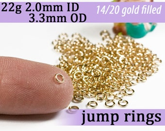 22g 2.0mm ID 3.3mm OD gold filled jump rings -- 22g2.00 goldfill jumprings 14k goldfilled