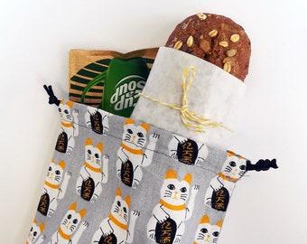 Maneki Neko Cotton Bento Bag, Sandwhich Bag, Snack Bag, Lunch Bag, Lunch Tote, Drawstring Bag, Cotton Bag, Kimono Fabric, Kawaii Goldfish
