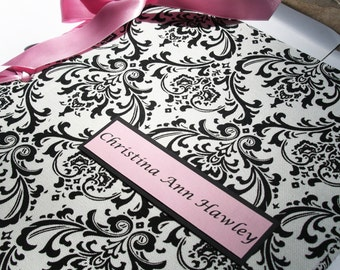 Baby Shower Book - Personalized Baby Book - Girl Photo Album - Black, White & Pink Damask Children Book - (Custom Colors Available)
