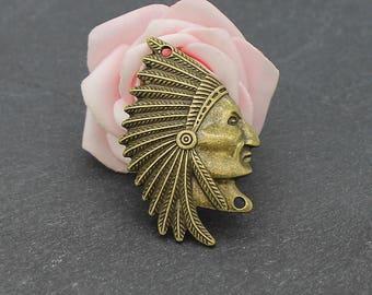 Two connectors bronze metal Indian Chief Head 50 x 31 mm COB237