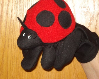 Lady Bug hand puppet fleece and stretchy fabric