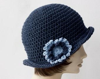 Cotton Flower Sun Hat, Custom - Choose Color, Flapper Summer Hat,  Wide Brimmed Hat