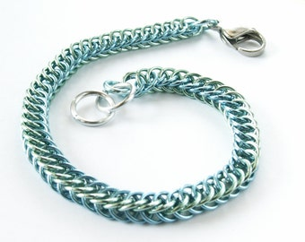 Seafoam and Sky Blue Half Persian 4-1 Chainmaille Bracelet