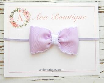 Lavender Bow Headband - Newborn Bow Headband - Baby Bow Headband - Baby Lavender Bow