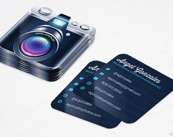 Mini Camera Business Cards - Photographer - Rounded Corners - Design and Printing - 250, 500, 1000, 2500 | FREE Shipping