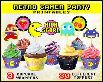 Retro Arcade Game party cupcake toppers and wrappers, video games, Gamer party, 80s party, Printable Nintendo Pacman Mario Zelda Space