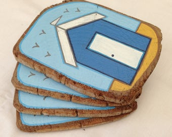 Beach huts coasters (reclaimed timber beam slices)
