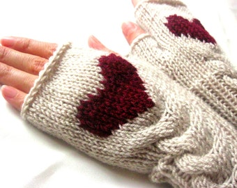 Fingerless Wool Gloves with a heart Mittens Arm Warmers  Hand Knitted Eco Friendly Valentines Day Gift for her
