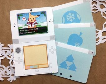 Carte de Noël de Nintendo | jolie carte de Noël, carte de voeux geek, gamer carte de Noël, carte de jeu vidéo, carte de geek, gamer carte de voeux