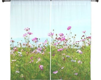 Sheer Curtains - Pink flower wildflowers, blue sky, nature photography by RDelean Designs