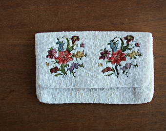 Vintage Beaded Floral Clutch, All Over Beaded Evening Bag with Floral Tapestry Detail