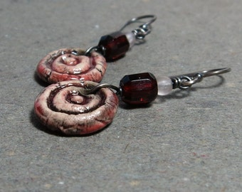 Red Ceramic Earrings Vintage Glass Beads Oxidized Sterling Silver Rustic Boho Earrings Gift for Her