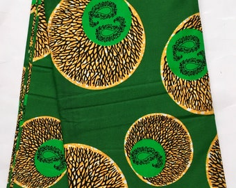 African Print Fabric/ Ankara - Green, Orange 'Roots of Wisdom' Pattern, YARD or WHOLESALE