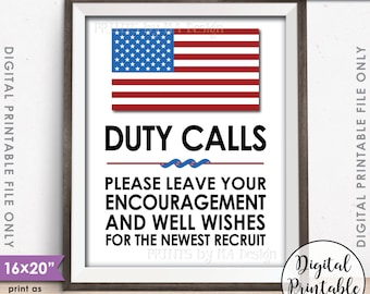 "Military Party Decor, Leave your Encouragement and Well Wishes, US Military Boot Camp, Patriotic, 8x10/16x20"" Printable Instant Download"