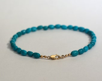 14kt Yellow Gold and Sleeping Beauty Turquoise Beaded Bracelet