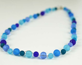 Blue sea glass necklace blue beads blue beaded necklace Saturn necklace cobalt blue seaglass aqua blue sea glass jewelry handmade jewelry