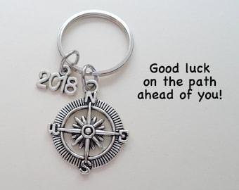 Compass Keychain, Graduation Gift, Gift for Graduation, 2018 Graduate Gift, High School, College, Encouragement Gift, Good Luck Gift