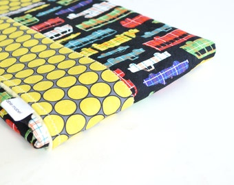 Baby Blanket, Small Framed Patchwork with Minky for Baby Boy Plaidsportation and Citron Huevos