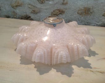 Vintage French Art Deco Frilled Light Shade. Splatter Opaque Glass. Fabulous chic French Decor.