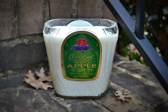 Crown Royal Apple Whisky Bottle Candle made with soy wax