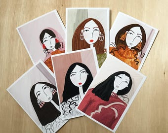 SET OF SIX - A6 greetings card