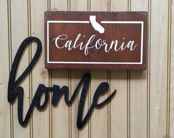 California wood state sign, home state sign, California sign