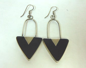 Pr of Womens Sterling Silver & Black Onyx Dangle Earrings 16.3g E3188