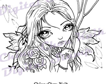 Seeing Through - Instant Download Digital Stamp / Big Eyed Gothic Lace Rose Flower Dryad Fantasy Fairy Girl by Ching-Chou Kuik
