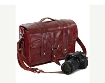 """14"""" Red Italain Leather Camera Bag"""