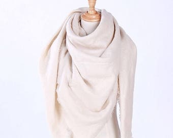 Ivory Cream Blanket Scarf - spring women's scarf, winter scarf, oversized scarf, triangle scarf, beige scarf, gift for her, gift for women