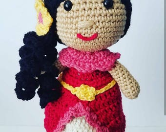 Crochet Princess Elena Doll, princess Elena, crochet doll, crochet spanish doll, crochet Mexican doll, princess doll, cotton doll