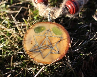 Glow in the Dark Tetrahedron Wooden Pendant with Peridot on Macrame Hemp Necklace