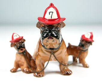 Vintage Bulldog Figurine, Fire House Dog, Dogs on Chains, Bulldog Collector, Dog Lover Gift, Dog Decor, Made in Japan, Firefighter Gift