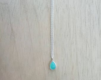 Silver necklace with amazonite