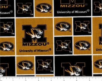 NCAA fabric University of Missouri Mizzou tigers black gold MU patchwork college team novelty quilting sew 100% cotton per yard