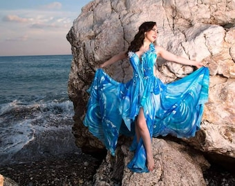 Exlusive hand painted dress by IOLANNA