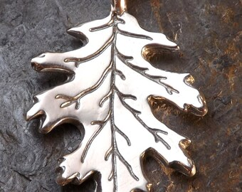 Red Oak Leaf - Pewter Pendant - Wisdom Tree, Tree of Life, Nature Jewelry, Calling forth our Wisdom and Balance