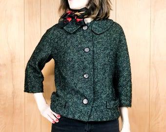 Rare John Doyle Bishop Cropped Jacket Vintage 60s Green Tweed with Bows ~ Medium