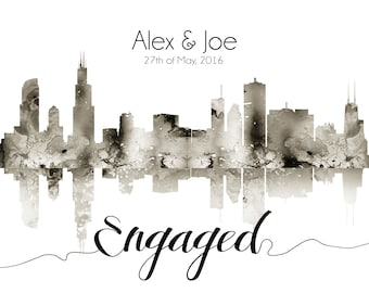 Chicago Skyline Personalised Gift Skyline couple Gift Skyline for a Couple Present