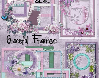 Digital Scrapbook Frame set x 16 GRACEFUL Feminine, elegant and purple, create memories using these clusters